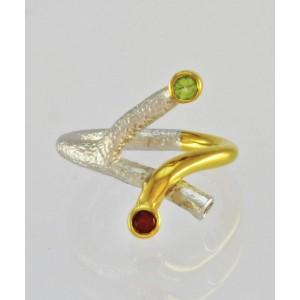Dizajnerski prstan - Rubin, Peridot
