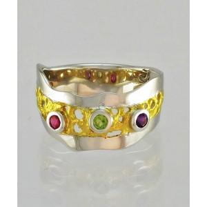 Dizajnerski prstan - Ametist, Peridot, Granat