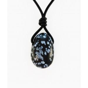 Kamen na usnjeni vrvici - Snežni Obsidian