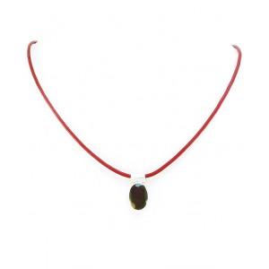 Kamen v Srebru na Usnju - Granat (Facette) (10x13mm)