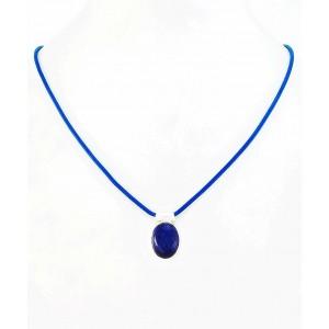 Kamen v Srebru na Usnju - Lapis Lazuli (11x15mm)