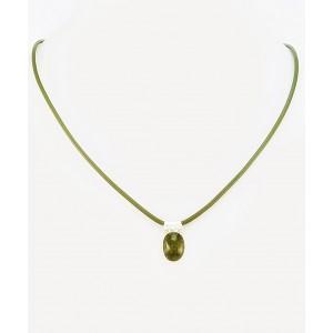 Kamen v Srebru na Usnju - Zeleni Turmalin - Verdelit (11x8,5mm)