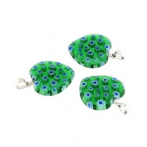 Obesek Muransko Steklo - Srce (Zeleno Modro)