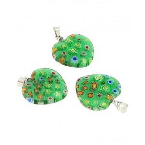 Obesek Muransko Steklo - Srce (Zeleno, Večbarvno)